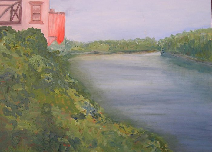 Landscape River Water Nature Greeting Card featuring the painting View From Edmund Pettus Bridge by Patricia Caldwell