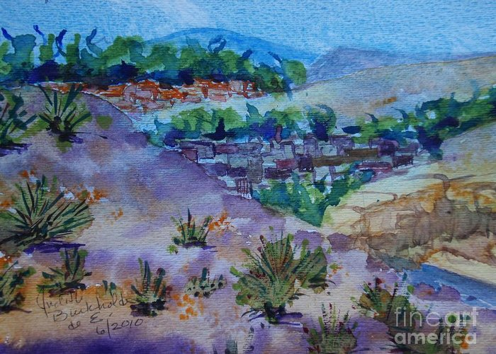 Landscape Greeting Card featuring the painting View from Four Hills by Judith Espinoza