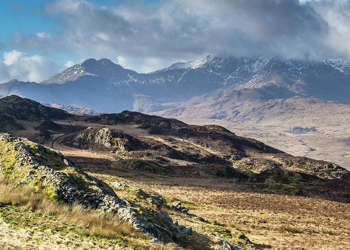 Moel Siabod Greeting Card featuring the photograph View from Moel Siabod, Snowdonia, North Wales by Anthony Lawlor
