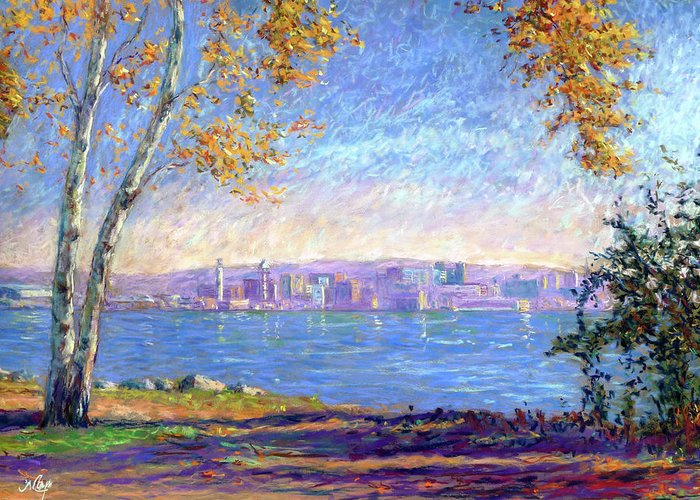Erie Greeting Card featuring the painting View From Presque Isle by Michael Camp