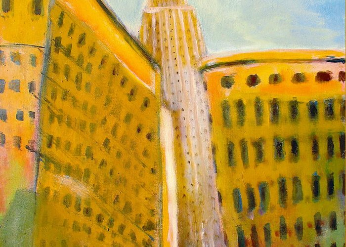 Abstract Cityscape Greeting Card featuring the painting View From The 33 St by Habib Ayat