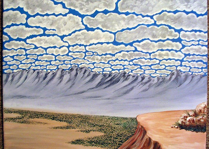 Desertscape Greeting Card featuring the painting View from the Mesa by Marco Morales