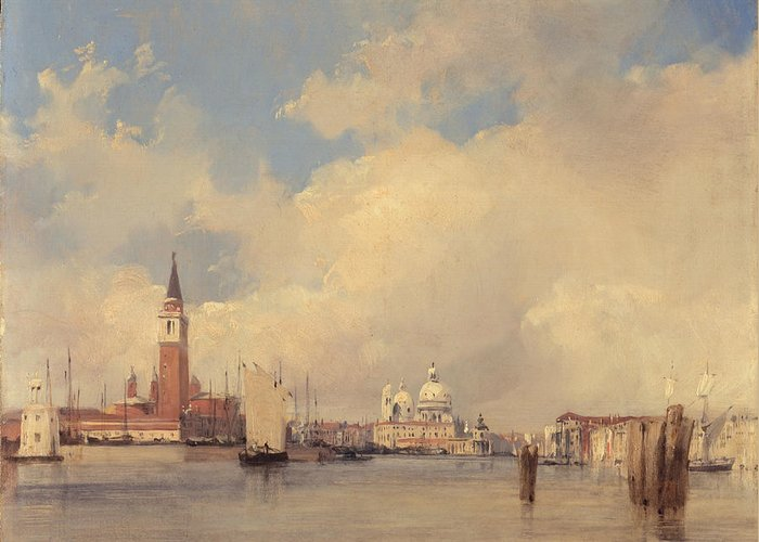 Italy Greeting Card featuring the painting View In Venice With San Giorgio Maggiore by Richard Parkes Bonington