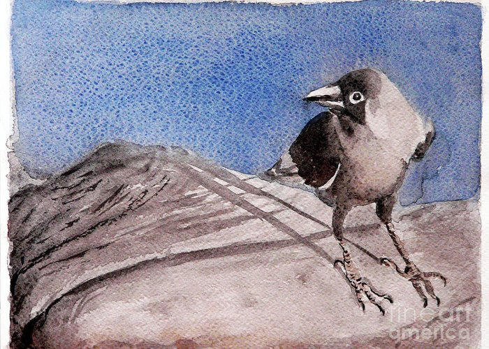 Crow Greeting Card featuring the painting View by Jasna Dragun