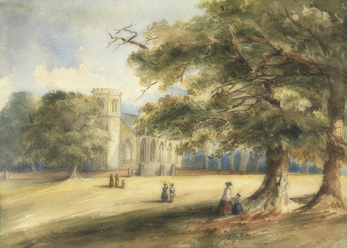 Art Greeting Card featuring the painting View Of A Churchyard, Southborough, Kent by Anonymous