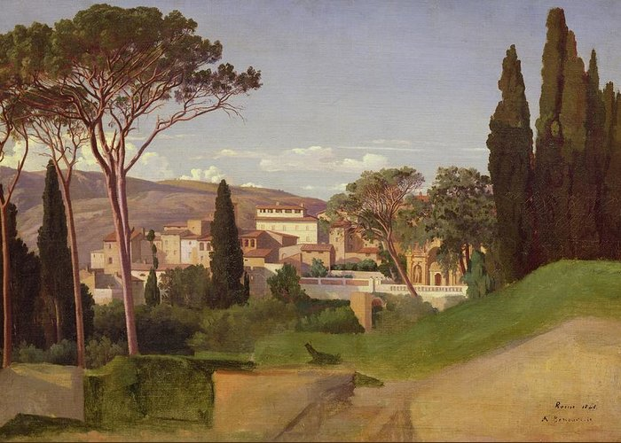 View Greeting Card featuring the painting View Of A Villa by Jean Achille Benouville