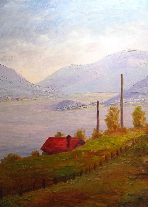 Italy Greeting Card featuring the painting View Of Bellagio Lake Como Italy by Belinda Consten