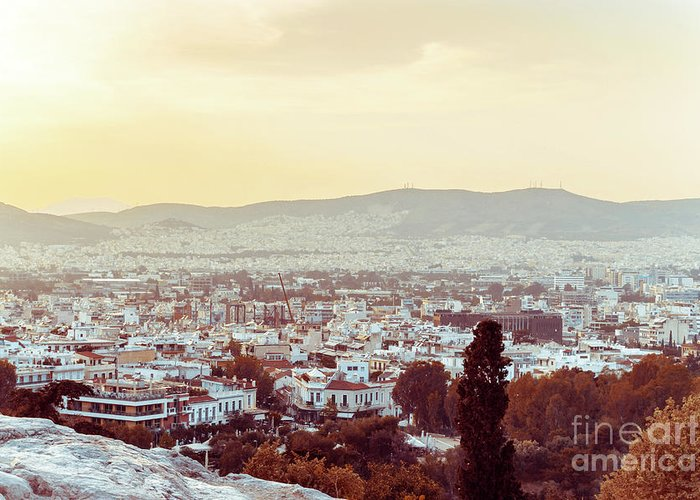 Athens Greeting Card featuring the photograph view of Buildings around Athens city, Greece by Otto