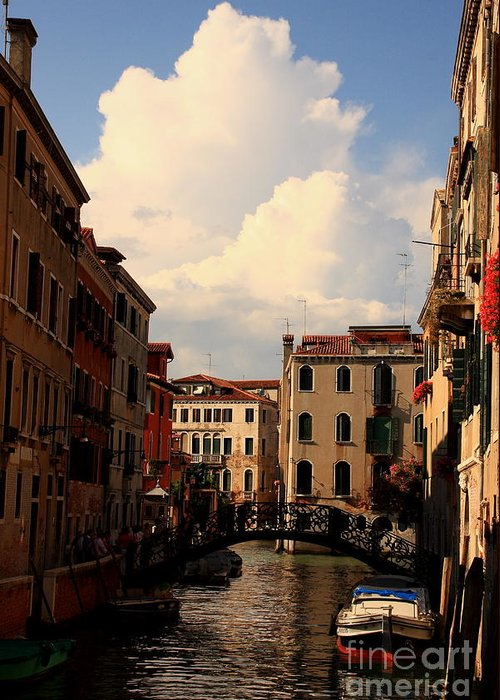 Venice Greeting Card featuring the photograph View Of Canal In Venice by Michael Henderson