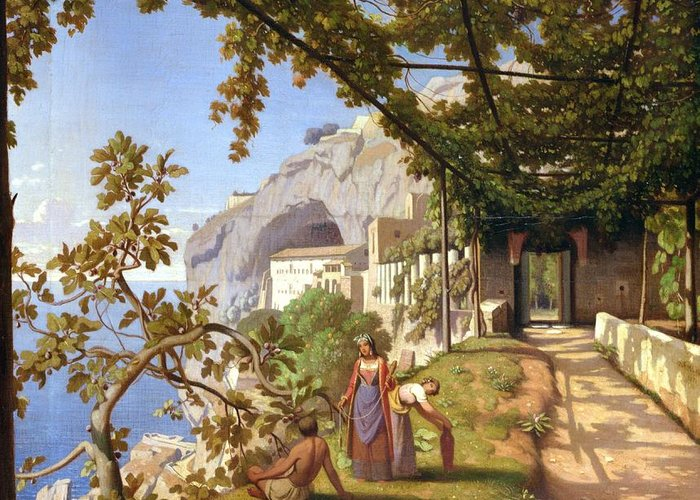 Leaves Greeting Card featuring the painting View Of Capri by Theodore Aligny