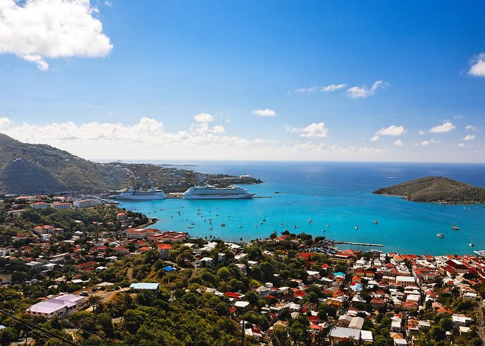 Bay Greeting Card featuring the photograph View Of Charlotte Amalie St Thomas Us Virgin Islands by George Oze