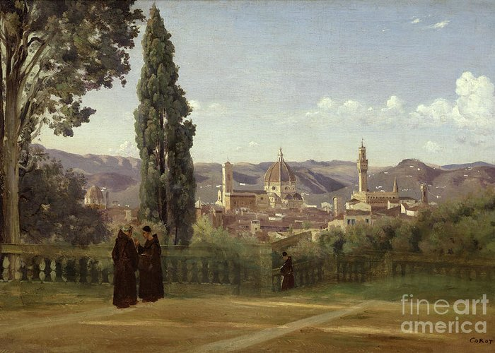 View Greeting Card featuring the painting View Of Florence From The Boboli Gardens by Jean Baptiste Camille Corot
