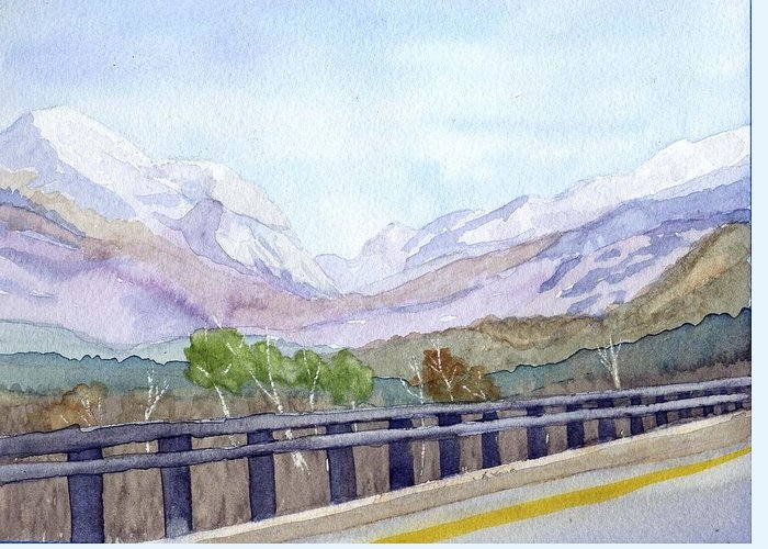 Franconia Notch Greeting Card featuring the painting View of Franconia Notch by Sharon E Allen