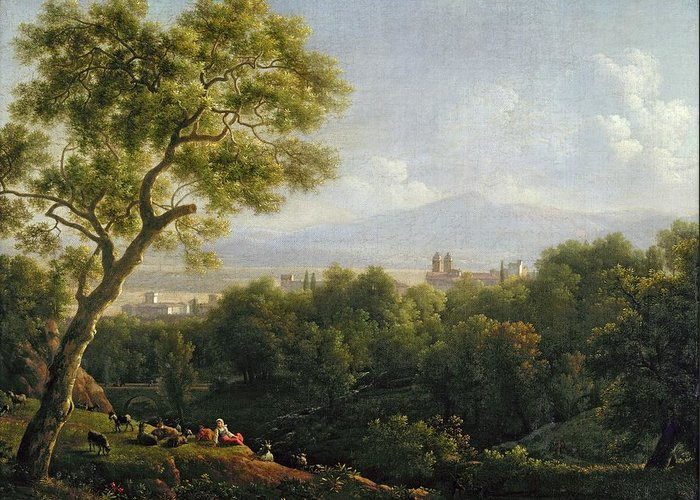 View Greeting Card featuring the painting View Of Frascati by Jean Bidauld