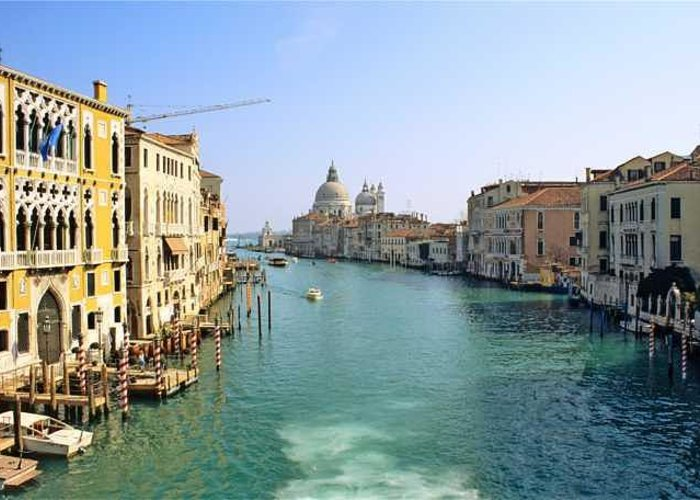 Venice Greeting Card featuring the photograph View Of Grand Canal In Venice From Accadamia Bridge by Michael Henderson