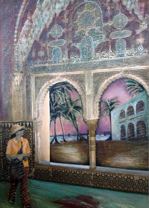 Woman Greeting Card featuring the painting View Of Hispaniola From The Alcazar by Barbara Nesin