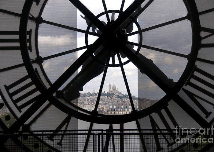 Paris Greeting Card featuring the photograph View Of Montmartre Through The Clock At Museum Orsay.paris by Bernard Jaubert