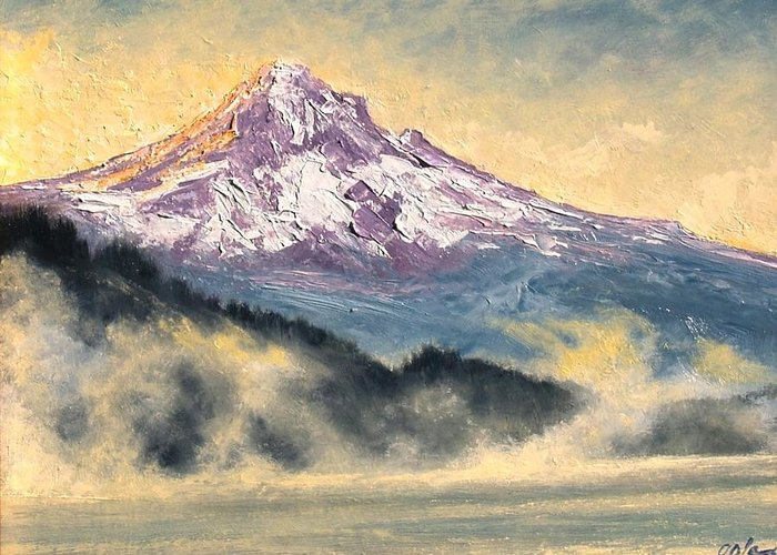 Lanscape Greeting Card featuring the painting View Of Mt Hood by Jim Gola