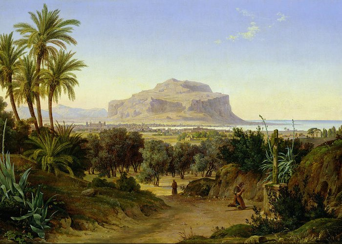 View Greeting Card featuring the painting View Of Palermo With Mount Pellegrino by August Wilhelm Julius Ahlborn