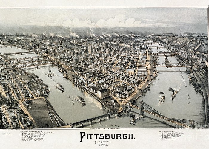 1902 Greeting Card featuring the photograph View Of Pittsburgh, 1902 by Granger