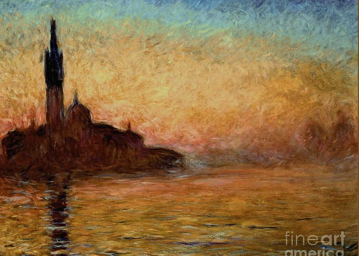 View Greeting Card featuring the painting View of San Giorgio Maggiore by Claude Monet