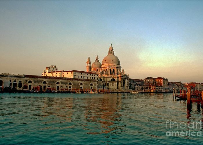 Venice Greeting Card featuring the photograph View Of Santa Maria Della Salute On Grand Canal In Venice by Michael Henderson