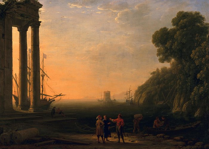 Coast Greeting Card featuring the painting View Of Seaport by Claude Lorrain