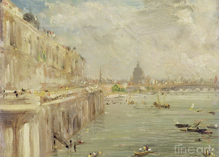 View Greeting Card featuring the painting View Of Somerset House Terrace And St. Paul's by John Constable