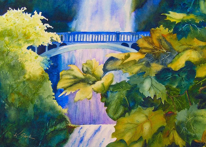 Waterfall Greeting Card featuring the painting View of the Bridge by Karen Stark
