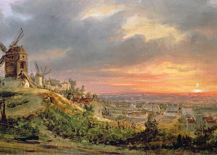 View Of The Butte Montmartre Greeting Card featuring the painting View Of The Butte Montmartre by Louis Jacques Mande Daguerre