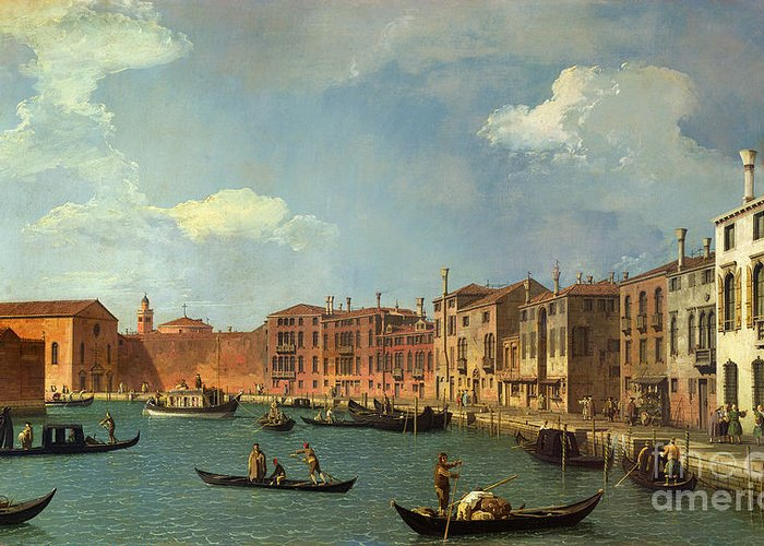 View Of The Canal Of Santa Chiara Greeting Card featuring the painting View Of The Canal Of Santa Chiara by Canaletto