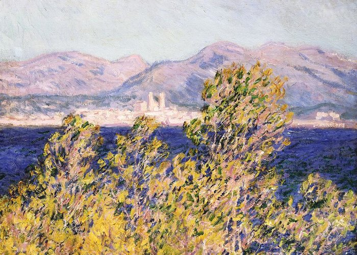 Impressionism; Impressionist; Landscape; Tree; Mountain; Wind; Sea; Ocean; Coast; Mediterranean; Cape; Gorse; Breeze; View Of The Cap D'antibes With The Mistral Blowing Greeting Card featuring the painting View Of The Cap Dantibes With The Mistral Blowing by Claude Monet