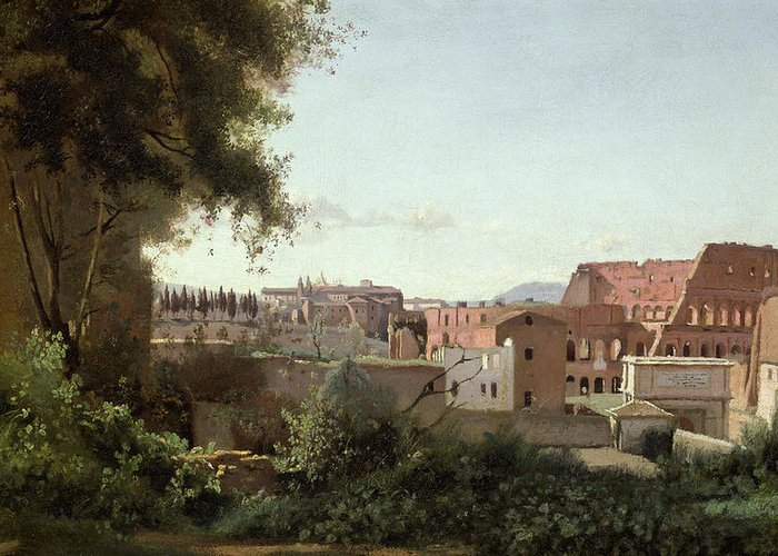 View Greeting Card featuring the painting View Of The Colosseum From The Farnese Gardens by Jean Baptiste Camille Corot