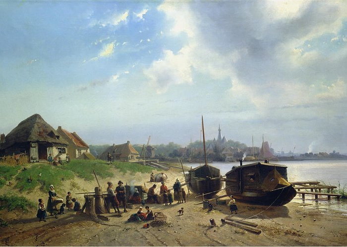View Greeting Card featuring the painting View Of The Dutch Coast by Johan Gerard Smits