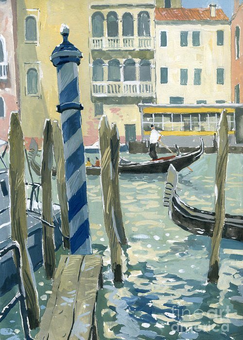 Painting Greeting Card featuring the painting View Of The Grand Canal In Venice by Sakurov Igor