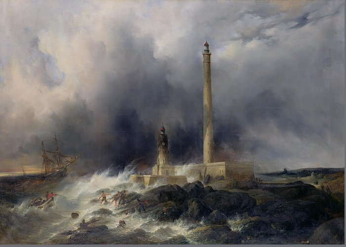 View Greeting Card featuring the painting View Of The Lighthouse At Gatteville by Jean Louis Petit