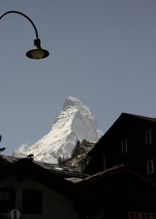 Matterhorn Greeting Card featuring the photograph View Of The Matterhorn From Zermat Switzerland by Nancy Sisco