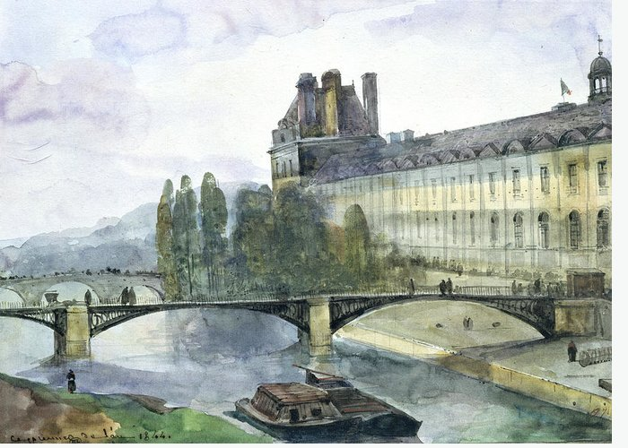 View Greeting Card featuring the painting View Of The Pavillon De Flore Of The Louvre by Francois-Marius Granet
