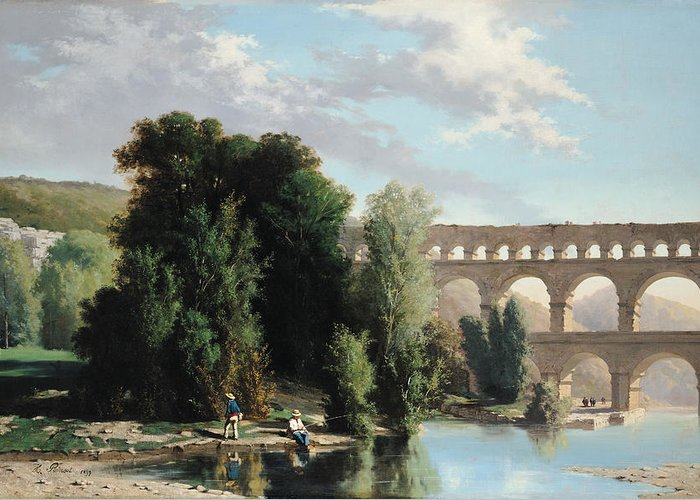 View Greeting Card featuring the painting View Of The Pont Du Gard by Henri Marie Poinsot