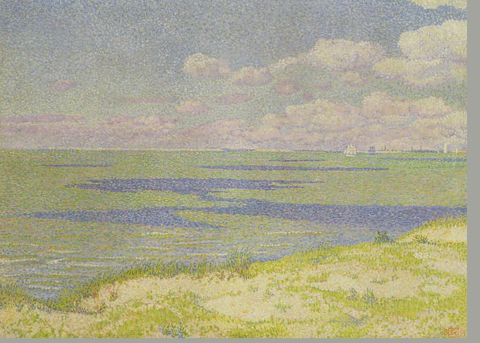 Post-impressionist Greeting Card featuring the painting View Of The River Scheldt by Theo van Rysselberghe