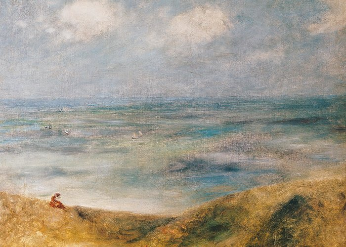 Sailing Boat; Landscape; Coast; Coastal; Impressionist; Seated Female; Peace; Tranquility; Island Greeting Card featuring the painting View Of The Sea Guernsey by Pierre Auguste Renoir