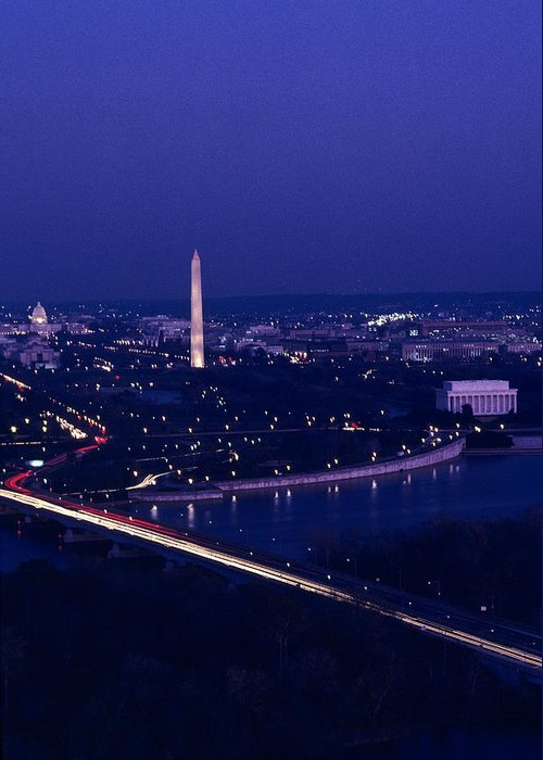 Washington Greeting Card featuring the photograph View Of Washington D.c. At Night by Kenneth Garrett