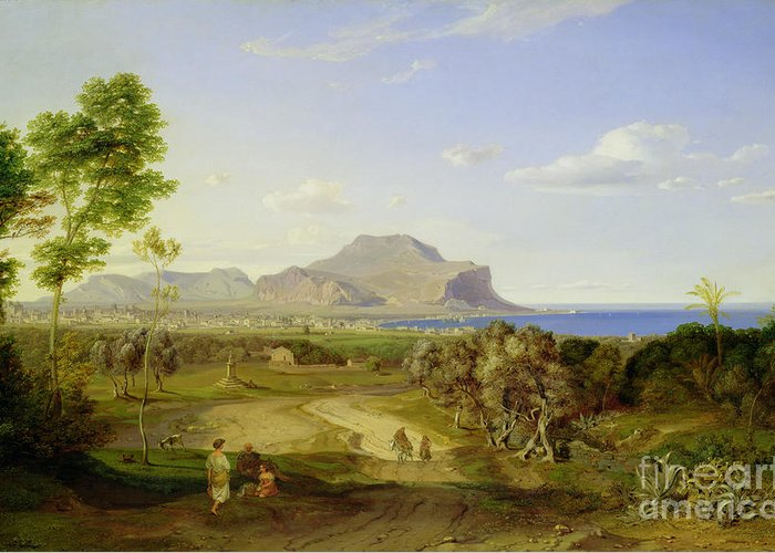 View Greeting Card featuring the painting View Over Palermo by Carl Rottmann