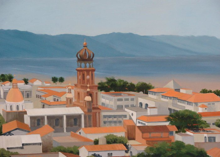 Mexico Greeting Card featuring the painting View Over Puerto Vallarta by Robert Rohrich