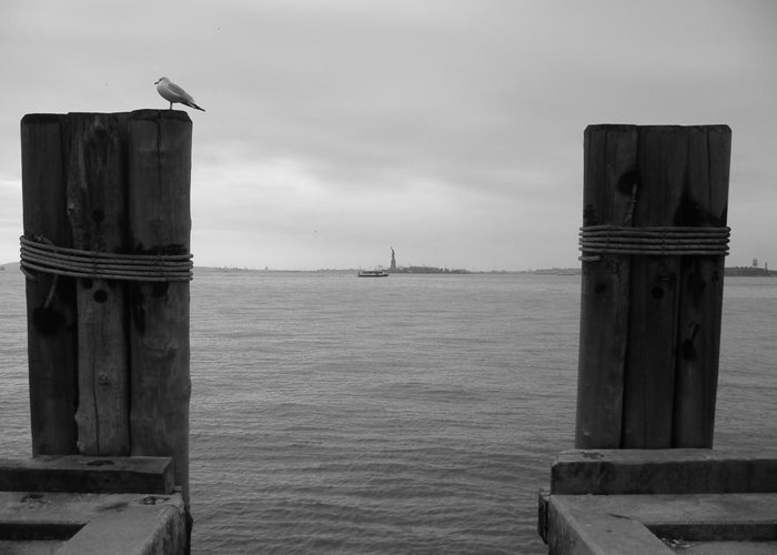 Nyc Greeting Card featuring the photograph View Toward Statue Of Liberty In Nyc by Utopia Concepts
