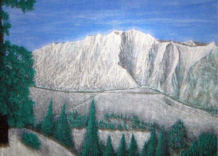 Snow Greeting Card featuring the painting Viewfrom Spruces by Michael Cuozzo