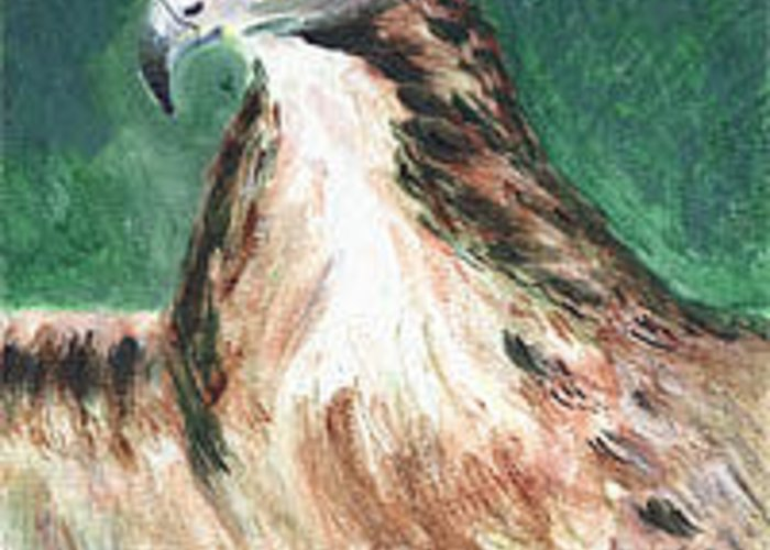 Eagle Greeting Card featuring the painting Vigilance by Anne-Elizabeth Whiteway