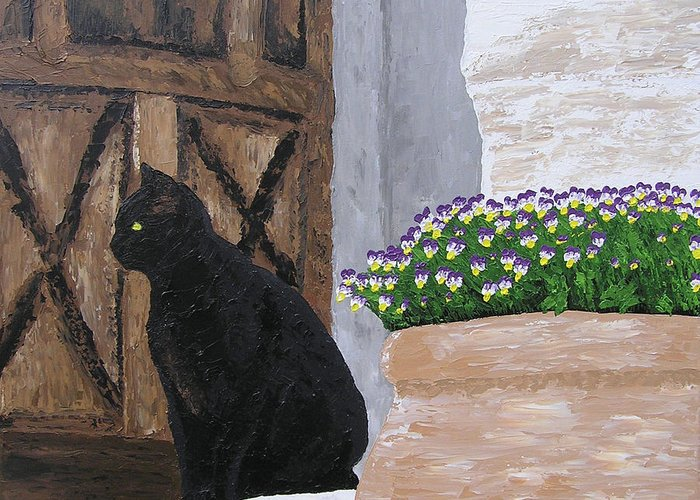 Cats Greeting Card featuring the painting Vigilant Cat by Ricklene Wren
