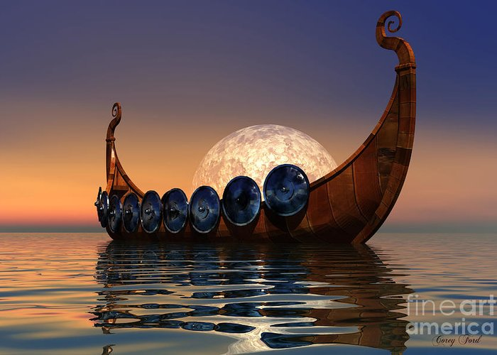 Viking Greeting Card featuring the painting Viking Boat by Corey Ford