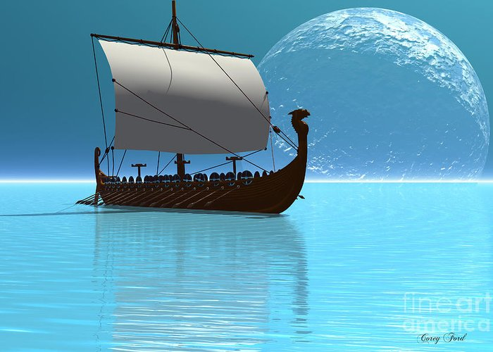 Viking Greeting Card featuring the painting Viking Ship 2 by Corey Ford